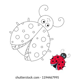 Vector drawing worksheet for preschool kids with easy gaming level of difficulty. Simple educational game for kids. Illustration of funny ladybird for toddlers