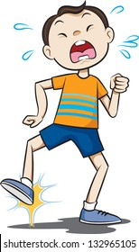 Vector drawing of a young boy throwing a tantrum.