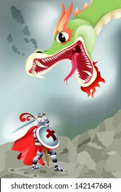 Vector drawing/Fantasy knight fighting a Dragon/Vector drawing, easy to edit layers, easy to edit grouped objects, Dragon editable, knight editable and fully visible behind shield,