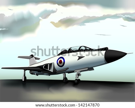 Vector Drawing Jet Fighter Vector Drawing Easy Edit Stock Vector