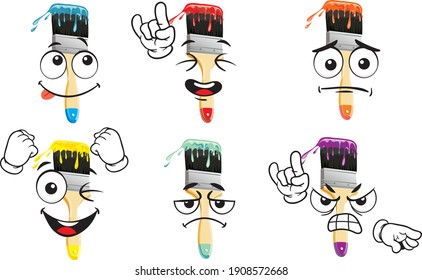 Vector drawings of brush mascot. Perfect for printing on T-shirts, posters, wall papers, wall murals, mugs, glasses, sun loungers, banners, roll-ups, exhibition walls and any other printing materials.