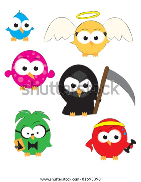 Vector Drawings Cute Little Birds Stock Vector Royalty Free 81695398