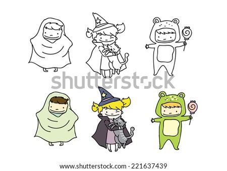 Vector Drawings Kids Playing Halloween Theme