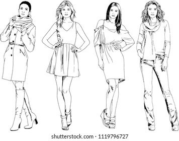 fashion sketch outline girl 2 girls stock vector royalty free 1970s Fashion vector drawings on the theme of beautiful slim sporty girl in casual clothes in various poses