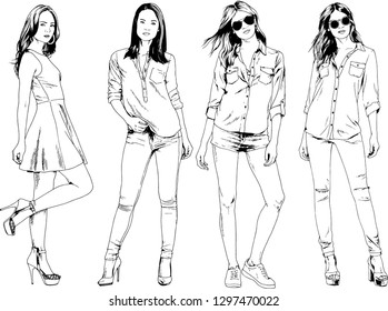 woman with no clothes stock vectors images vector art shutterstock 80s Female Clothes vector drawings on the theme of beautiful slim sporty girl in casual clothes in various poses