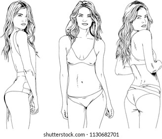 vector drawings sketches beautiful girls blondes in swimsuits in sexual poses drawn in ink by hand , objects with no background