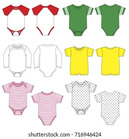Vector drawings of various baby garments.