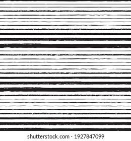 Vector drawn black stripes white seamless pattern
