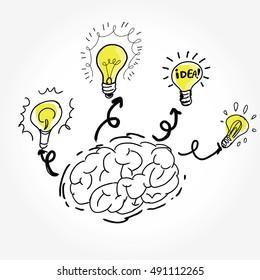 Vector drawn brain many Idea concept