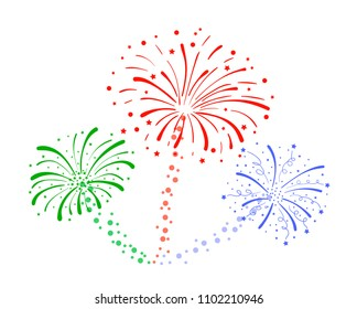 Vector Drawn Fireworks Isolated on White Background, Colorful Crackers.