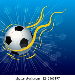 Vector drawn football, abstract background design. The background is blue.