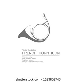 Vector drawn french horn. Isolated on white background.