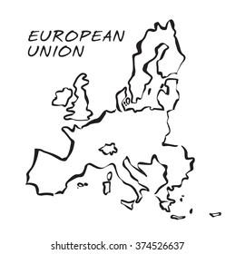 Vector drawn Illustration of European Union borders.