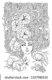 Vector drawn magical forest fairy with curly hair with weave interwoven flowers. Girl nymph goddess of the spring bloom. Ornamental decorated graphic Coloring  page print t-shirts mythical characters.