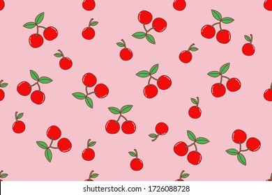 Vector drawn seamless. Cherries on pink background.