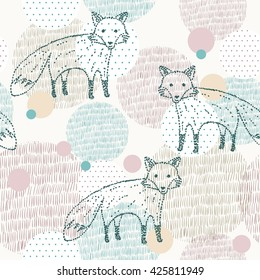 Vector drawn seamless geometric pattern with fox