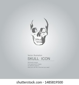 Vector drawn skull. The background is a gray gradient.