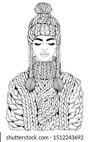 Vector drawn smiling young girl with eyes closed. Fashionable model in a warm large knitted sweater with high collar and a knitted hat with pigtails and tassels. Christmas Design card, print t-shirt