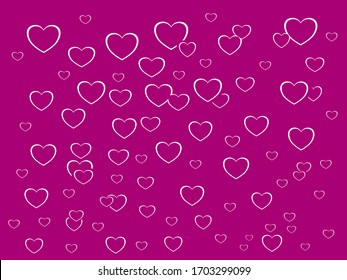 Vector drawn white line heart of love pattern flat design, pink Purple many Hearts in isolated cool background textures