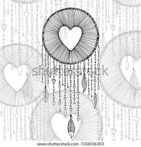 vector dream catcher with heart shape illustration transparent background native american ancient symbol dreamcatcher