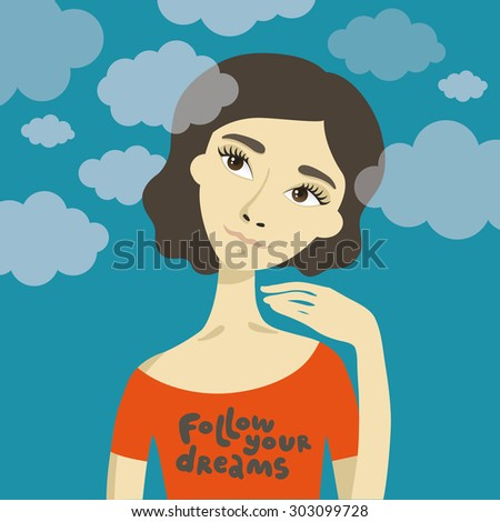 vector dreamy girl in clouds.follow your dream
