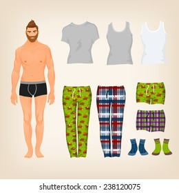 Vector dress up male paper doll with an assortment of freestyle loungewear and pajamas