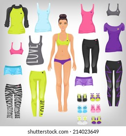 Vector dress up paper doll with an assortment of sports and running fashionable clothes