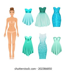 Vector dress-up doll with an assortment of turquoise prom and cocktail dresses