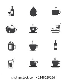 vector Drink icons - beer glass, coffee cup, wine, soda and juice beverage - water bottle
