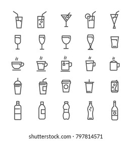 vector drink lines icons set grey on white background