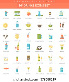 Vector drinks color flat icon set. Coffee, alcohol and tee. Elegant style design drink icons for web and apps.
