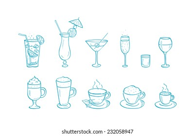 Vector Drinks hand drawn doodle icons