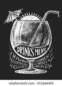 Vector drinks menu on blackboard