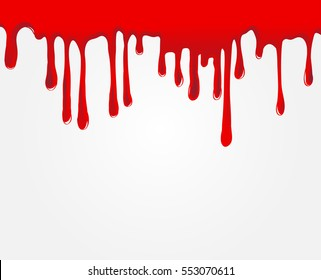 Vector dripping blood.Red paint drips.