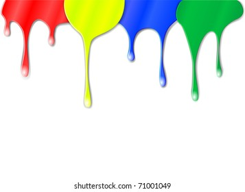 Vector drips of color paint