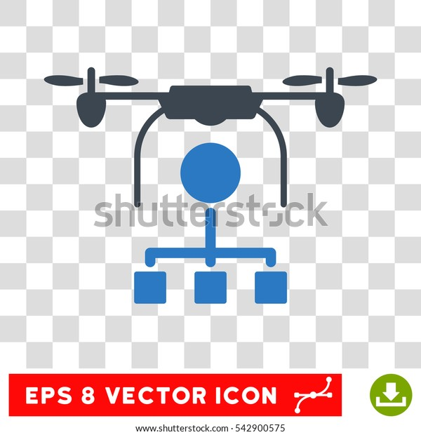 Vector Drone Distribution EPS vector pictograph. Illustration style is flat iconic bicolor smooth blue symbol on a transparent background.