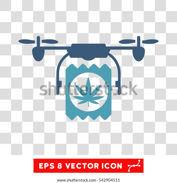 Vector Drone Drugs Delivery EPS vector icon. Illustration style is flat iconic bicolor cyan and blue symbol on a transparent background.