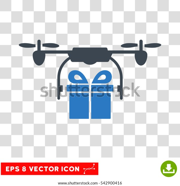 Vector Drone Gift Delivery EPS vector pictogram. Illustration style is flat iconic bicolor smooth blue symbol on a transparent background.