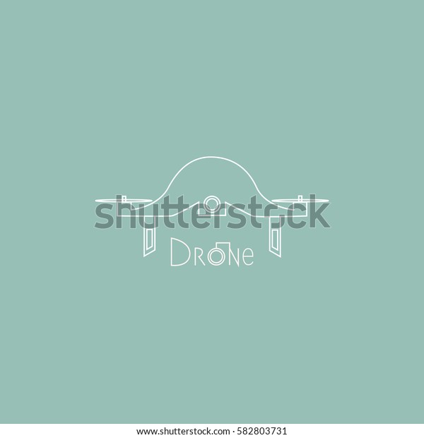 Vector drone logo. Digital flying copter with action camera.