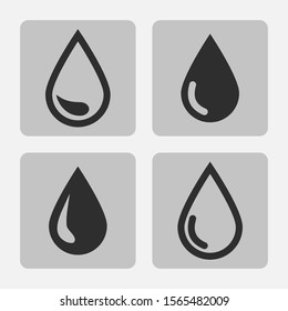 Vector drop black icon set  isolated   on a gray square  background