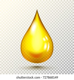 Vector drop of golden oil with shadow isolated on transparent background. Vector illustration for your graphic design.