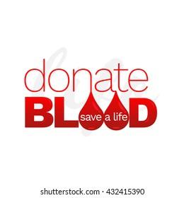 El vector elimina el concepto de donación de sangre. Perfecto para camisetas, carteles, bolsos impresos. Una cita inspiradora.