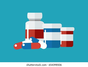 Vector drugs icon, pills, capsules ans prescription bottles. Medicine vector illustration, modern flat cartoon style.