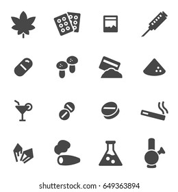 Vector drugs icons set on white background
