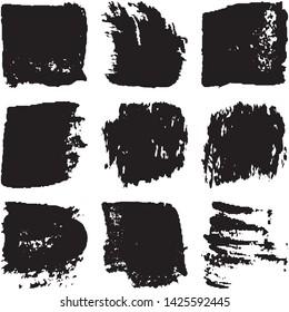 Vector dry brush stroke grunge. Black isolated on white spots. Modern distressed banner texture