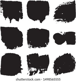 Vector dry brush stroke grunge. Black isolated on white spots. Modern distressed banner texture