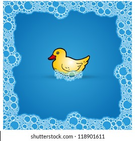 Vector duck in soap bubble bath on blue background