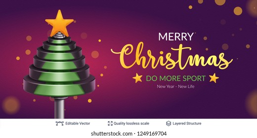 Vector dumbbell weights in fir tree shape. Christmas and New Year Sport background concept.