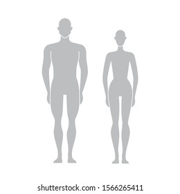 Vector dummy silhouette. Mannequin male and female. Figures of man and woman. Human Body. People front side. Vector isolated editable template for measurements, fashion, fitness, medical Illustration.