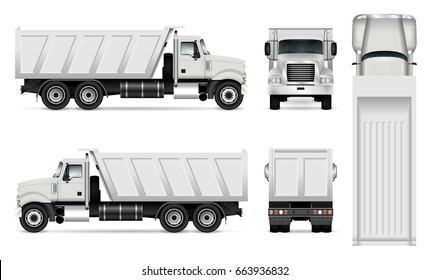 Vector dump truck template for car branding and advertising. Tipper truck set on white background. All layers and groups well organized for easy editing and recolor. View from side, front, back, top.